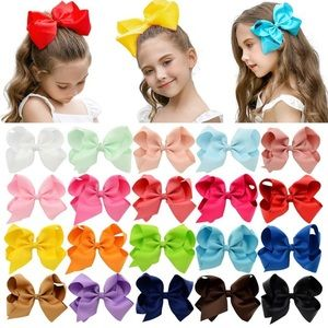 "20 PCS Multi-colored 6"" Ribbon Hair Bow Clips"